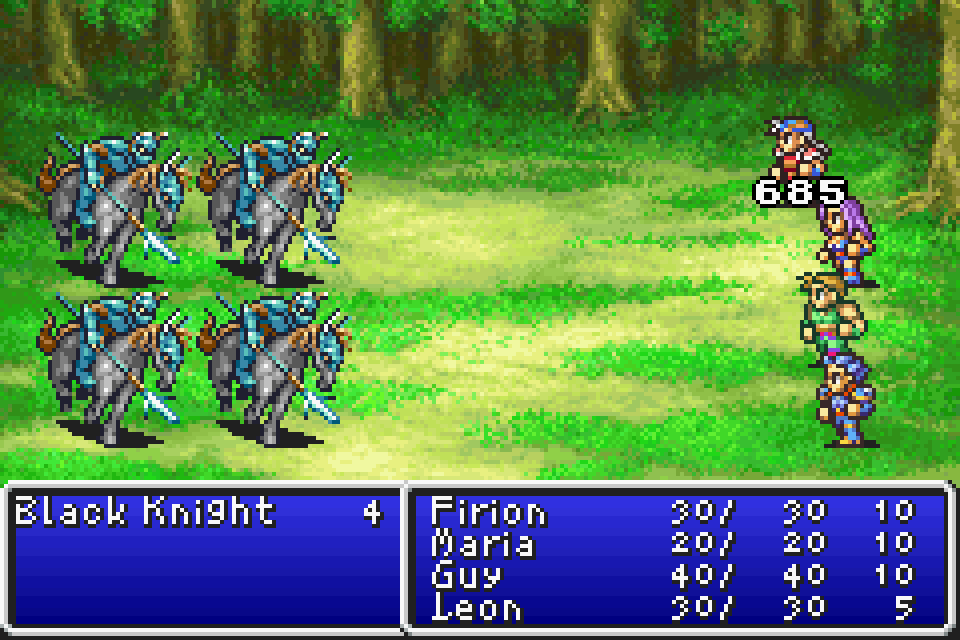 final fantasy II combat gba